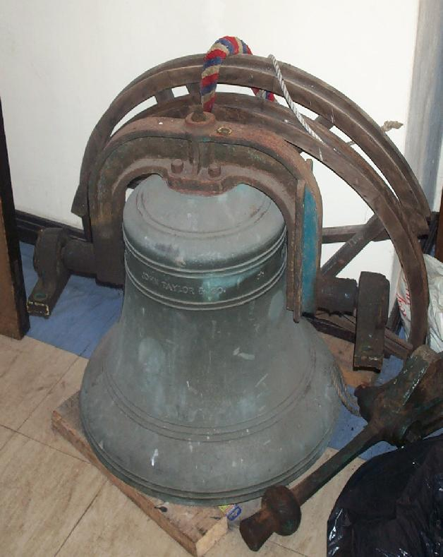 The old bell (approx 4cwt) shortly to be hung above the others